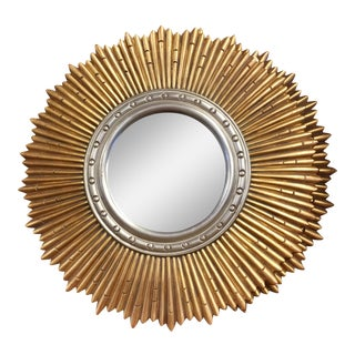 Sunburst Beveled Porthole Wall Mirror For Sale