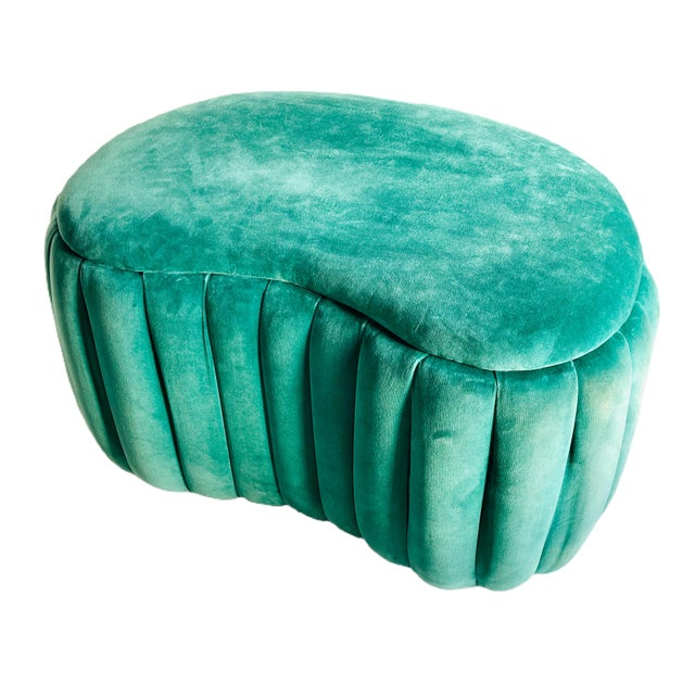 Vintage custom storage ottoman and bench upholstered in velvet and moire' fabric. The lush ottoman features a rounded...
