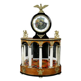 Biedermeier Pearwood and Bronze Mounted Mantle Clock For Sale