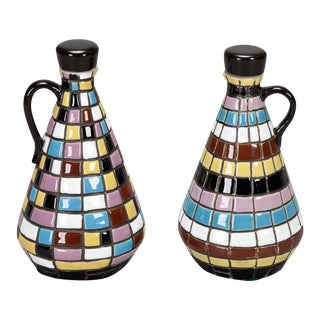 Mid Century Op Art Inspired Ceramic Oil and Vinegar Set For Sale