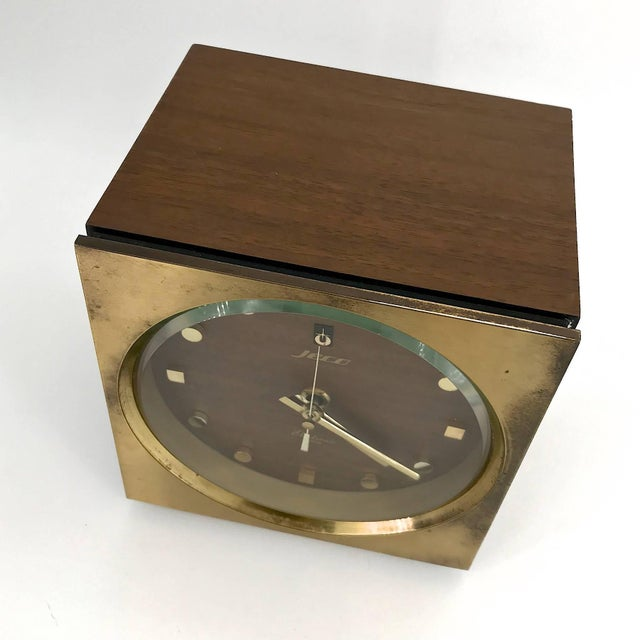 1960s Tiger Tenaka Japanese Table Clock in Walnut Glass and Brass For Sale In Washington DC - Image 6 of 11