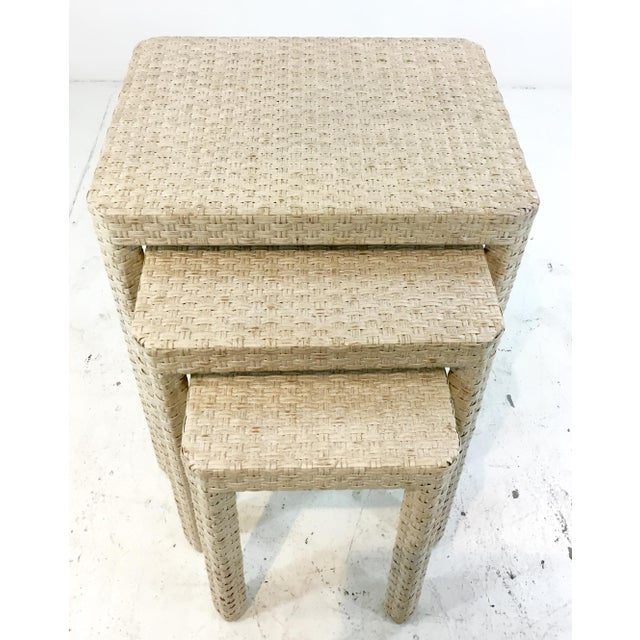 Transitional Made Goods Transitional White Washed Rattan. Delphine Nesting Tables Set of Three For Sale - Image 3 of 4