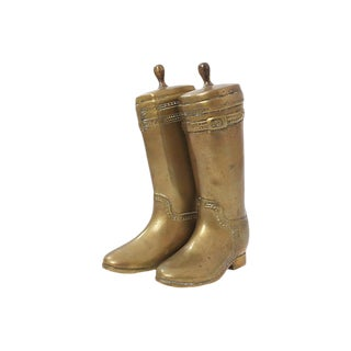 Brass Riding Boot Bookends For Sale