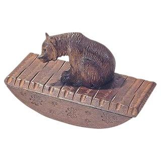 Antique Carved Black Forest Bear Ink Blotter For Sale