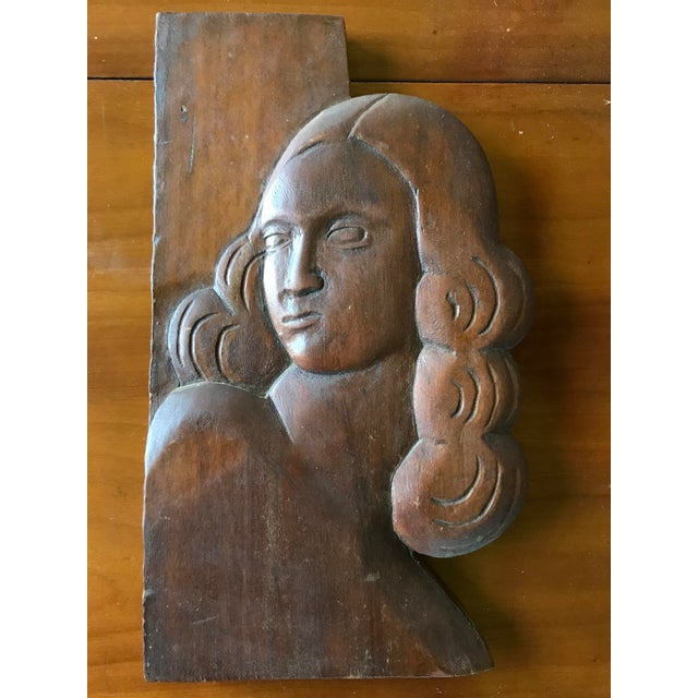Figurative Folk Art Relief Carving of a Woman For Sale - Image 3 of 9