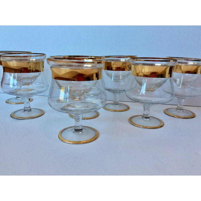 Dorothy Thorpe 1960s Mid-Century Modern Dorothy Thorpe Gold Band Shrimp Caviar Icers - Set of 8 For Sale - Image 4 of 8