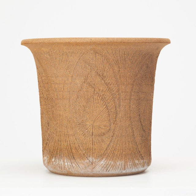 Mid-Century Modern Robert Maxwell Incised Studio Pottery Planter with Flared Lip For Sale - Image 3 of 12