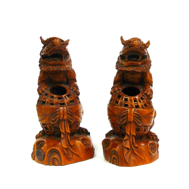 Boxwood Carved Foo Dog Feng Shui Figures - A Pair - Image 2 of 6