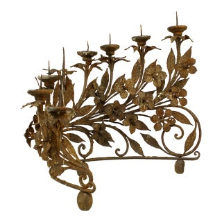 Italian Renaissance Wrought Iron Candelabra, Pair For Sale