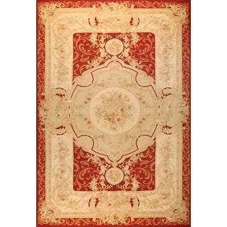 Handwoven Antique Aubusson Wool and Silk Rug, Circa 1920 For Sale