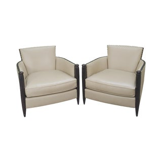 Widdicomb Larry Laslo the Moderne Collection French Art Deco Style Pair of Leather Club Chairs For Sale
