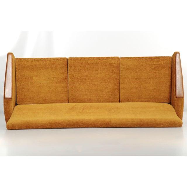 Scandinavian Mid Century Modern Orange Sculpted Walnut Sofa circa 1960s - Image 8 of 11
