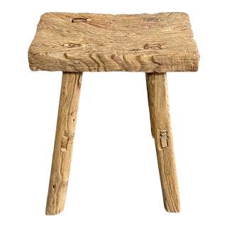 Vintage Antique Elm Wood Stool For Sale