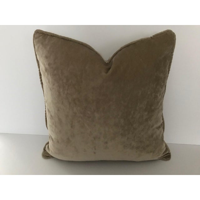 """2010s Osborne & Little Taupe Velvet Goose Down Insert Pillow 20""""x 20"""" For Sale - Image 5 of 5"""