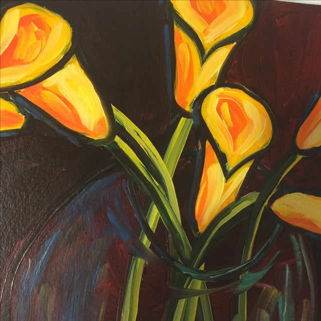 """P. Corthouts """"Callas in Burgundy"""" Acrylic Painting - Image 3 of 9"""