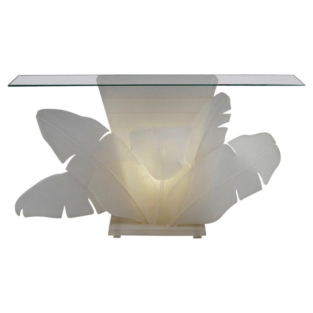 Luminous Electrified Frosted Lucite Palm Motife Console Table For Sale - Image 13 of 13