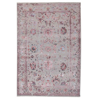 Contemporary Erased Design Silk & Wool Rug - 6′ × 9′ For Sale
