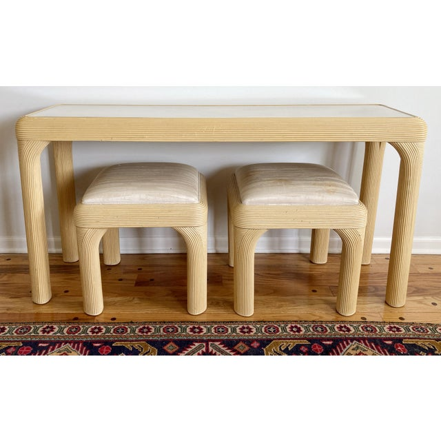 Pencil Reed Console With Two Coordinating Benches, S/3 For Sale - Image 10 of 10