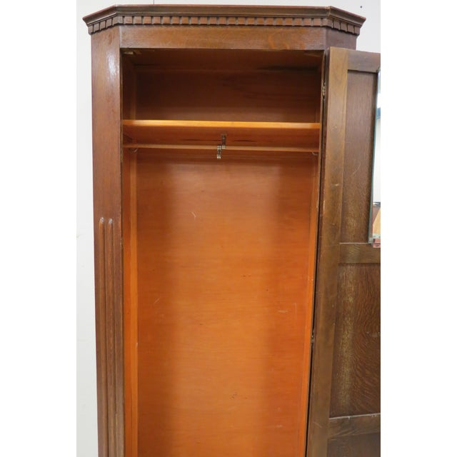 English English Tiger Oak Linen Fold Wardrobe With Interior Mirror For Sale - Image 3 of 13