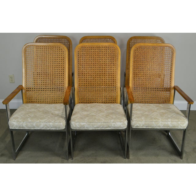 Mid-Century Modern Milo Baughman for Lane Mid Century Modern Set 6 Cane Back Chrome Dining Chairs For Sale - Image 3 of 12
