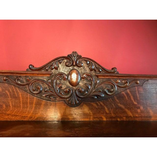 Antique Tiger Oak Buffet With Mirror - Image 10 of 11