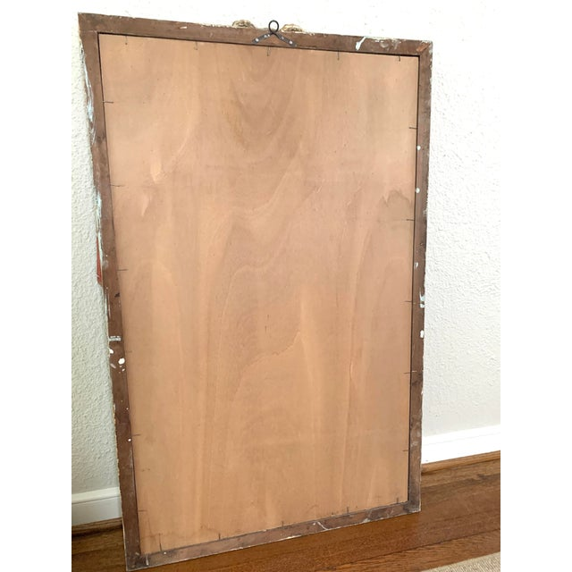 Early 20th Century Early 20th Century Red Painted Drapery Swag Mirror For Sale - Image 5 of 13
