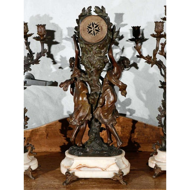 White Large Antique French Clock Set with Pair of Candelabra For Sale - Image 8 of 8