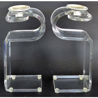 Mid-Century Modern Curved Lucite Candle Holders - a Pair Preview