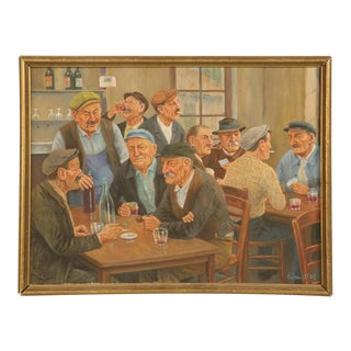 French Bar Painting by Victor Lefol For Sale