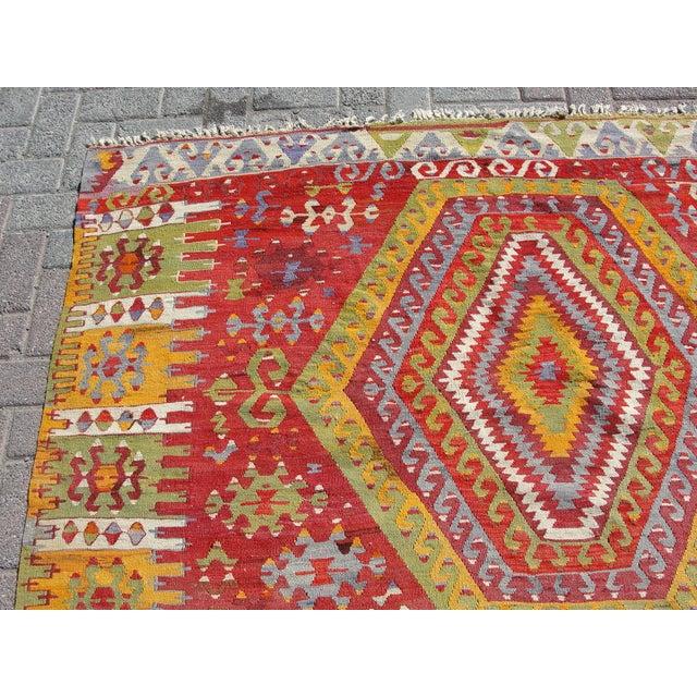"Boho Chic Vintage Turkish Kilim Rug - 5'11"" x 10'7"" For Sale - Image 3 of 11"