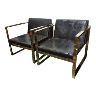 Late 20th Century Milo Baughman Style Hollywood Regency Lounge Chairs- A Pair For Sale