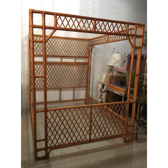 Brown Rattan Bamboo Chinese Chippendale Queen Canopy Bed For Sale - Image 8 of 12