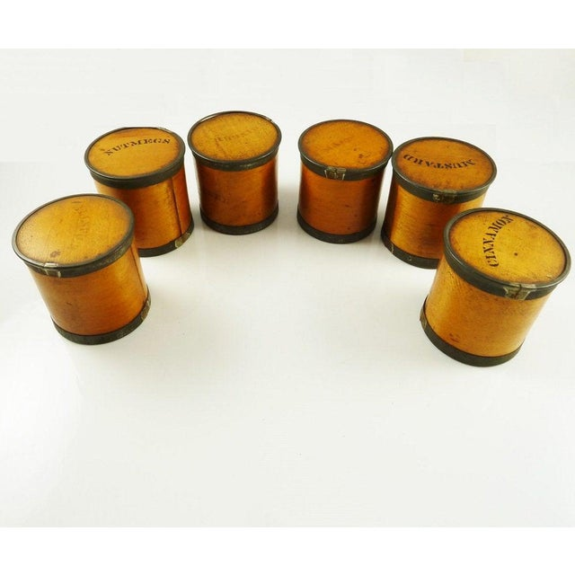 Late 19th Century Antique Wood Spice Boxes Set of Six Containers Manufactured by Patent Package Co Allspice Cinnamon Ginger For Sale - Image 5 of 11