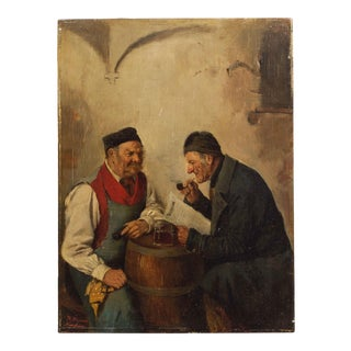 Genre Painting of Men Conversing by Hedwig Oehring (German, 1855-1907) For Sale