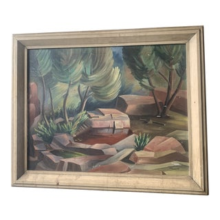1940s Abstract Forest Landscape Oil Painting, Framed For Sale