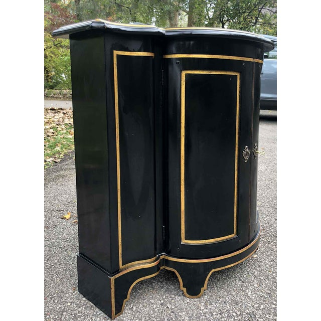 Baker Chinoiserie Black Lacquer Demi-Lune Commode For Sale In Chicago - Image 6 of 13