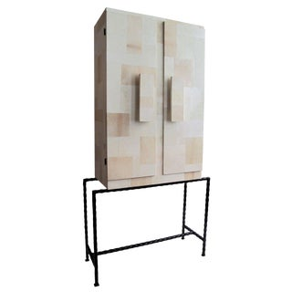 Mid-Century Italian Patchwork Parchment Cabinet on Cast Iron Legs For Sale
