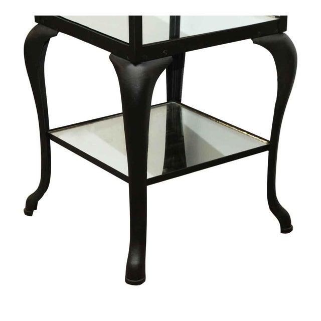 Cast Steel Shelving Unit with Distressed Mirrored Glass Shelves For Sale - Image 4 of 5