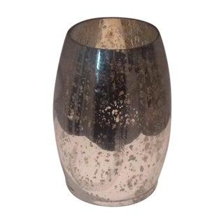 Modern Mercury Glass Hurricane Candle Holder For Sale