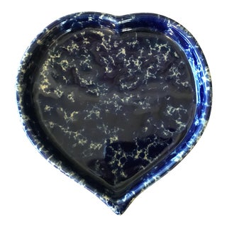 Sponge Glazed Blue Heart Dish