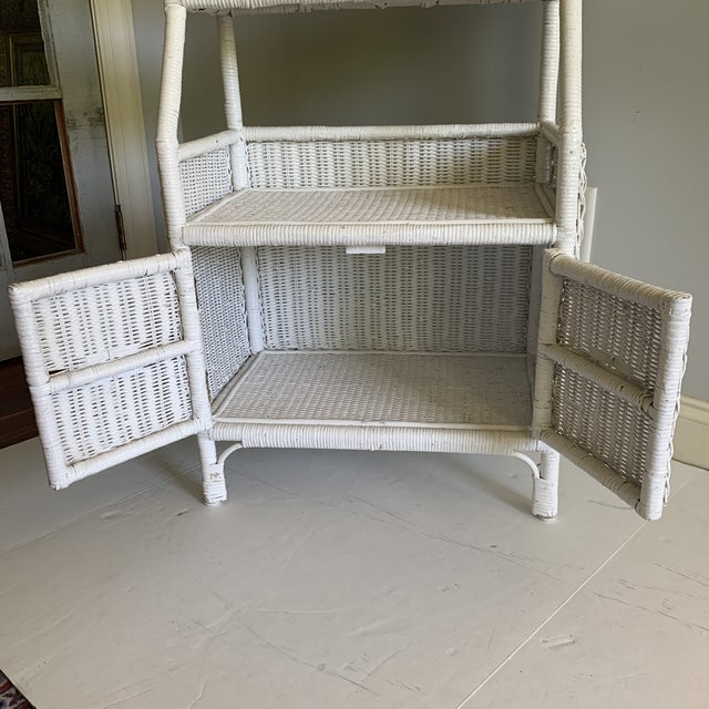 1970s 1970s Shabby Chic White Woven Wicker Etageres Bookcase For Sale - Image 5 of 9