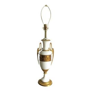 Gold Cherub Detail White Porcelain Lamp For Sale