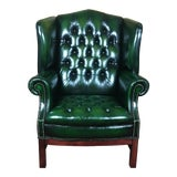 Image of Vintage 20th Century English Traditional Green Leather Tufted Wingback Chair For Sale