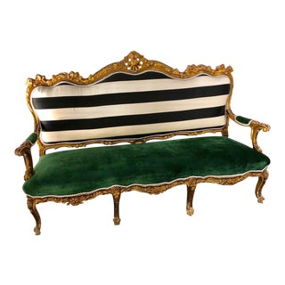 Vintage Carved Rococo Settee Redone With Amazing Green Velvet For Sale