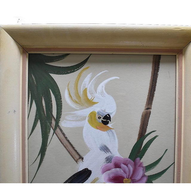 Hollywood Regency Hand Painted Floral Bird Paintings - A Pair For Sale - Image 3 of 5