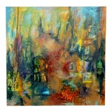 Image of Contemporary Modern Acrylic Mixed Media Art Autumn Painting Canvas For Sale