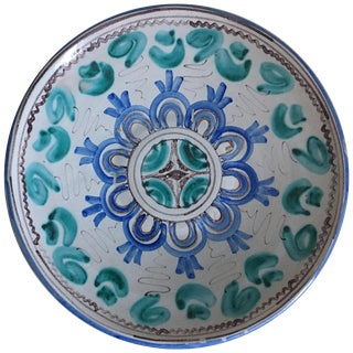 Midcentury Blue and Green Ceramic Dish or Plate With Geometrical Motifs For Sale