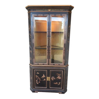 Vintage Chinoiserie Decorated Lighted Corner China Cabinet