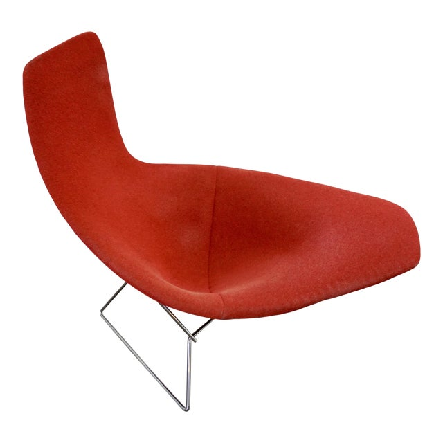 Bertoia Assymetric Red Upholstered Lounge Chair for Knoll For Sale