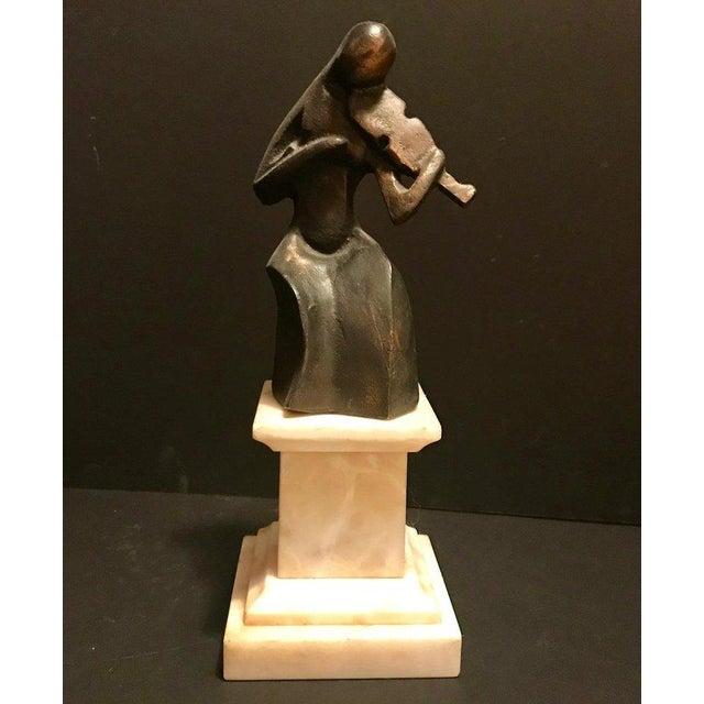 Art Deco 1930s Vintage Art Deco Le Violoniste Cubist Bronze Figural Sculpture For Sale - Image 3 of 9